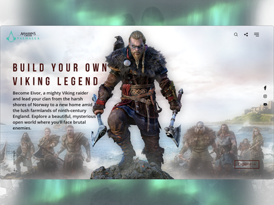 Assassin's Creed Valhalla web design web ux ui qwhayf playstation pc gaming games game design community clean valhalla cree assassin s assassins ahq adobe xd abdellatief
