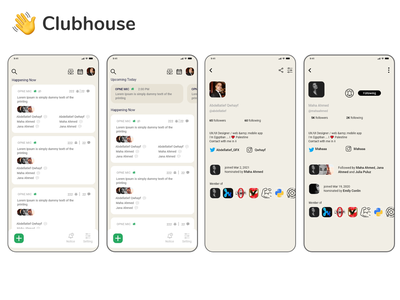 Clubhouse App UI redesign upgrade os windows android harmony ios app mobile app redesign concept qwhayf ux abdellatief ahq
