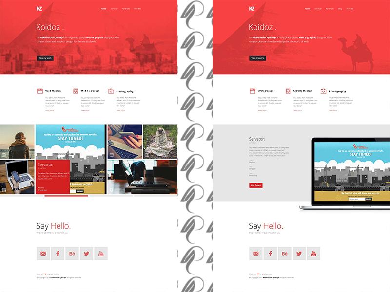 Koidoz - Free Psd Template  web ux ui psd news illustration freebie free flat design colorful clean