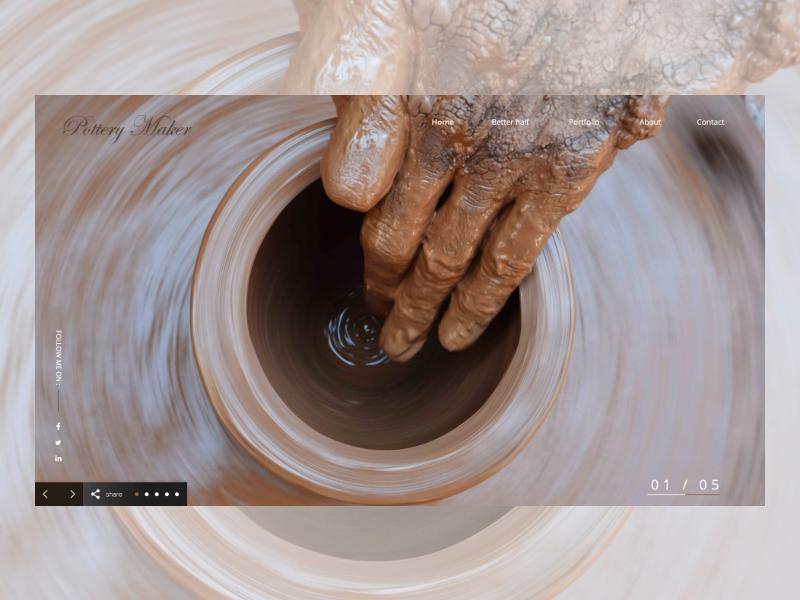 Pottery Maker Header Page freebies flatdesignc inspiration interface flatui website webdesign landingpage uxdesign uidesign ahq abdellatief design ux ui