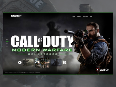 Call of Duty Modern Warfare xbox pc playstation game landing page onepage website webdesign web clean qwhayf abdellatief design ahq colorful cod