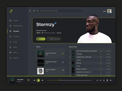 DailyUI 009 - Music Player dailyuichallenge media streaming spotify stormzy app design uiux app sketch screens ux ui design dailyui 009 dailyui009 dailyui musicplayer music player
