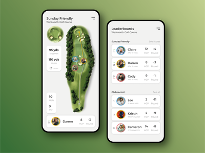 DailyUI 019 - Leaderboard sports golfing scorecard clean sport data game competition score leaderboard distance golf uxui mobile uiux app design app dailyui ux ui