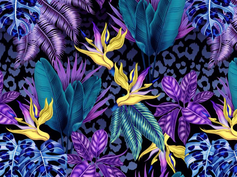 Vivid Tropics vivid camo leopard animal art botanical art botanical illustration botanical tropical surface pattern design surfacedesign surface pattern pattern art patterndesigner surfacepatterndesign surfacepattern pattern