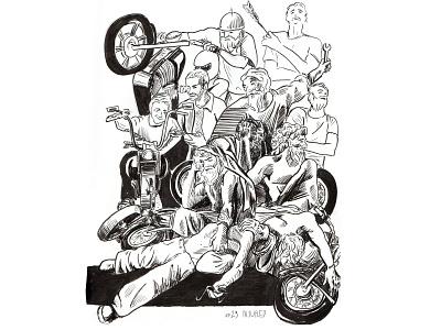 INJURED injured motorbike centaur centauro art inktober inking illustration art ink illustration inktober2019
