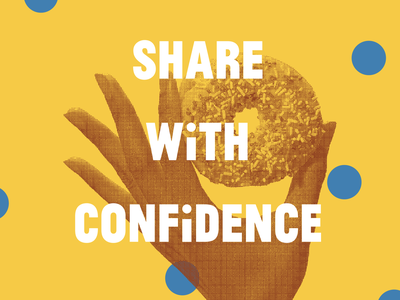 Share With Confidence branding polka dots layout typography design type