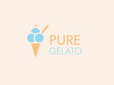 Pure Gelato Logo Design art graphic design icon typography illustrator vector flat branding logo illustration design