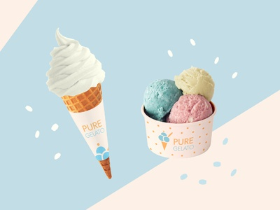 Pure Gelato Branding icecream logo mockup design illustrator illustration graphic design branding