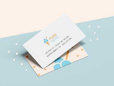 Pure Gelato Branding – Business Cards business cards mockup typography icecream logo illustrator illustration design graphic design branding