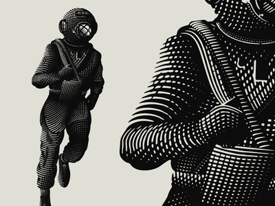 Deep Sea Athletics diver deep sea diver ocean runner xc athletics engraving illustration etching cross hatching