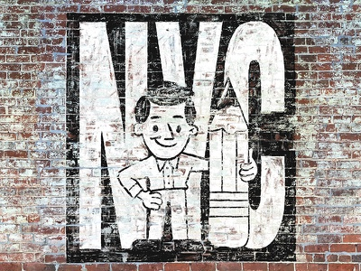 Moving to New York! ghost sign vintage illustration cartoon nyc sign painting lettering typography type