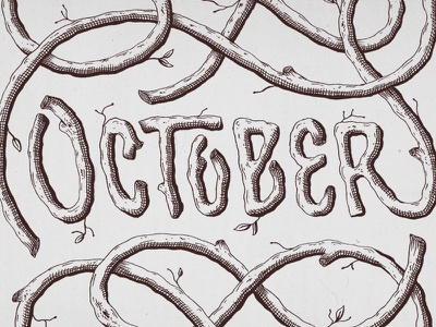 October illustration hatching branches october handlettering lettering type 🎃 🍂 👻