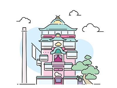 Spirited Away | Minimalist Design anime studio ghibli movie art minimal illustrations illustrator spirited away film ghibli animation flat vector ui design illustration