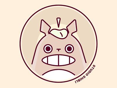 Totoro Stares Into Your Soul film animation vector ui illustrator illustration ghibli flat design art