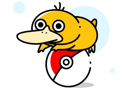 Derpy Psyduck funny minimal pokemon cartoon illustrations vector ui illustration flat design art