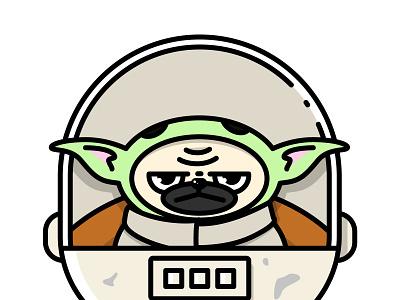 Baby Yoda Pug digital illustration funny minimal baby yoda pug illustrator illustrations vector illustration flat design
