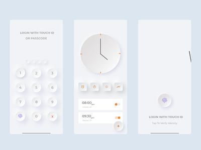 neumorphism minimal app design app adobe adobe xd new orange white 3d ux ui watch passwords alarm neumorphic password neumorphism