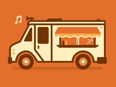 I scream, you scream, we all scream for food trucks food truck illustration vector flat ketchup mustard truck horn music