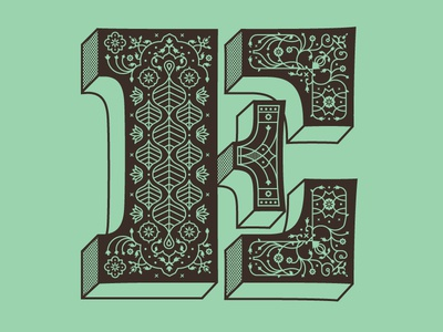 E is for Elaborate indian taj mahal pattern typography floral