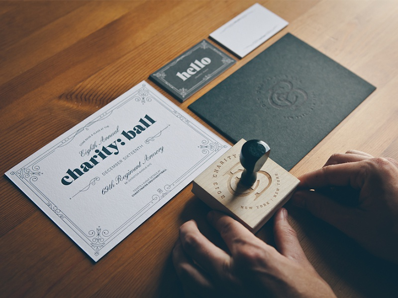 charity: ball invitations invitation letterpress business card typography stamp debossing