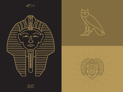 The Mummy 6: Hedwig's Revenge owl egypt headdress pharaoh scarab illustration gold vector hieroglyphs jewels snakes sphinx