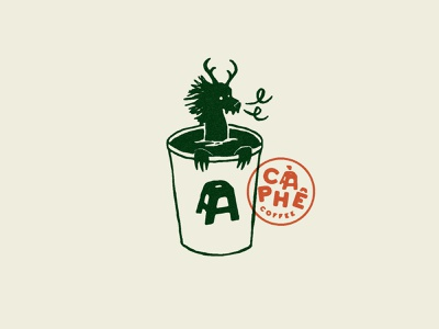 Coffee Dragon - Càphê Roasters vietnamese vietnam stamp icon logo identity texture branding vector illustration philadelphia dragon