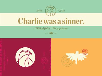 Born Sinner bird restaurant branding vector logo wings philadelphia icon hawk stamp bar
