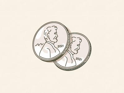A designers two cents mint philadelphia currency penny pennies vintage illustration