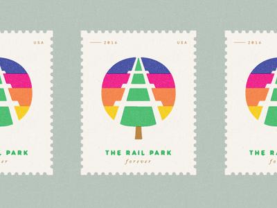 The Rail Park Forever minimal illustration tree train identity logo philadelphia icon stamp