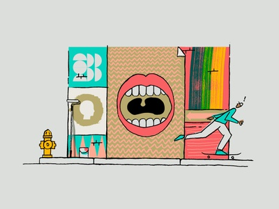 You've got a big mouth! skateboarder mouth mural airbnb illustration