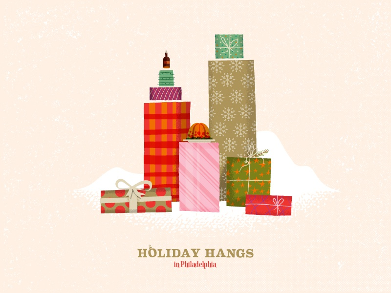 Holiday Hangs in Philadelphia texture mid-century philadelphia skyline illustration presents christmas holiday