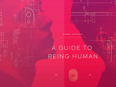A guide to being Human. blueprint double exposure human