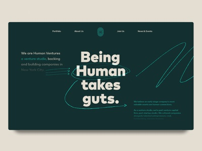 Being human takes guts. web design scribble hand drawn venture capital typography website
