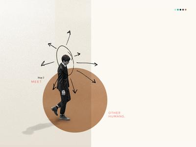 Step 2: Meet other humans. sketch hand drawn web overlay tech grid branding human