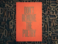 Don't remove the poetry