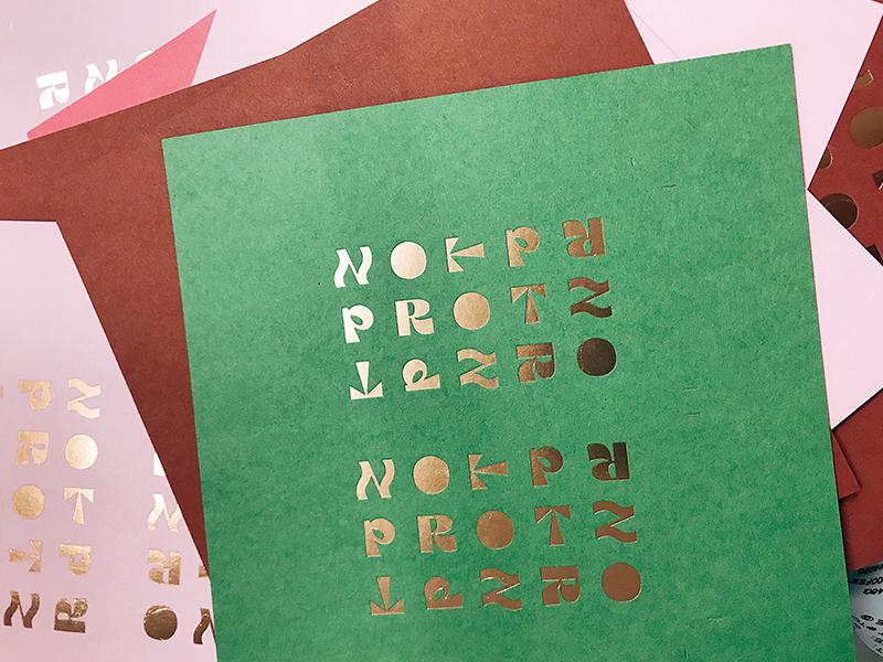Protz on Press roman typography tile metallic copper letterpress architecture