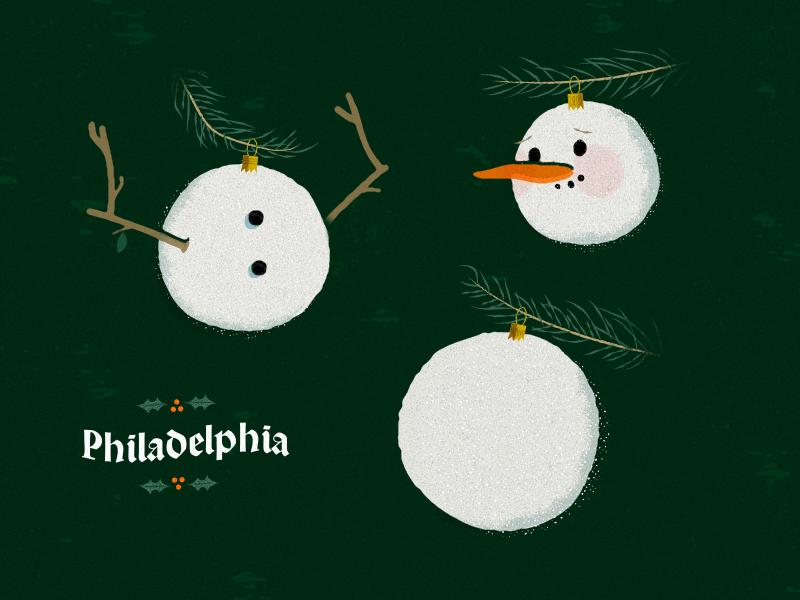 Holiday Hangs illustration vintage mid-century typography philadelphia snowman hangs holiday