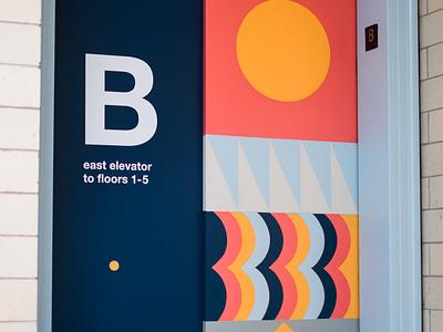 BOK Signage Case Study signage philadelphia geometric elevator wayfinding bok