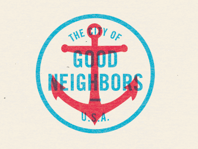 The City of Good Neighbors & Buffalo Wings stamp america anchor logo typography usa coaches loupe