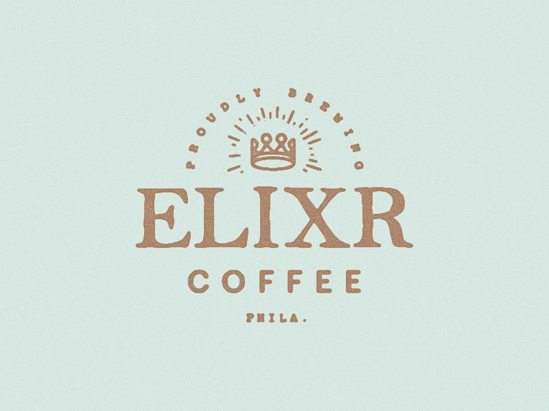 Proudly Brewing Elixr Coffee branding indentity vinyl sign coffee