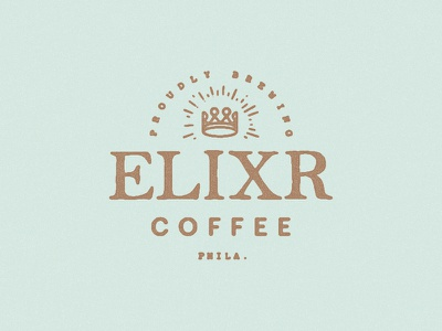 Proudly Brewing Elixr Coffee branding indentity vinyl sign coffee