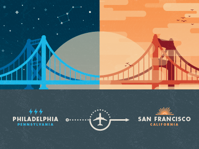 East Coast vs. West Coast east coast west coast vector texture clouds stars airplane bridge birds philadelphia san francisco california pennsylvania lightning bolt