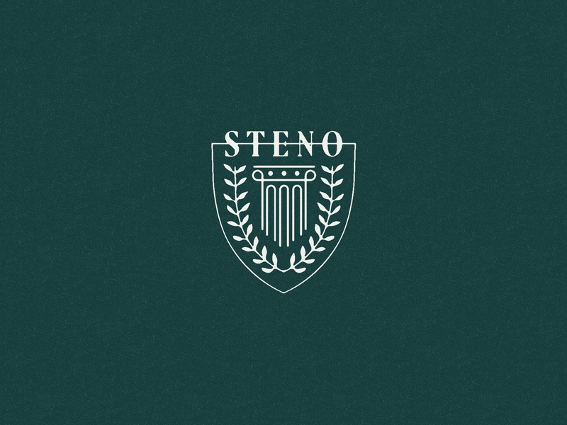 S T E N O illustration lawyers shield branding court laurel column court reporting