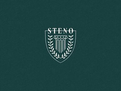 S T E N O illustration lawyers shield branding court laurel column court reporting