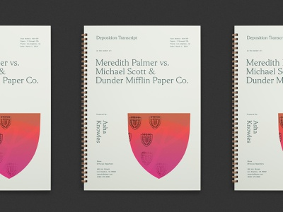 Deposition Transcript editorial typography stenography lawyer court los angeles steno the office notebook spiral notebook identity branding design deposition