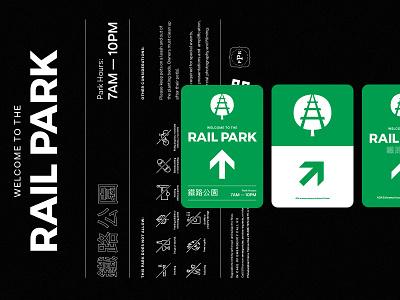 Rail Park Signage typography rules wayfinding park signage philadelphia the rail park