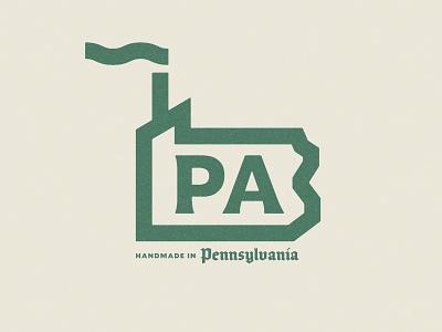 PA Made vintage retro smoke stack monoline typography pennsylvania illustration factory