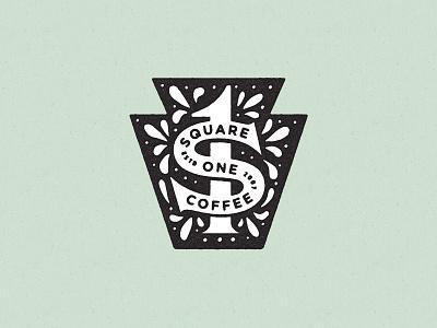 Square One Coffee Keystone hex sign keystone geometric icon logo identity branding texture vector illustration typography philadelphia pennsylvania