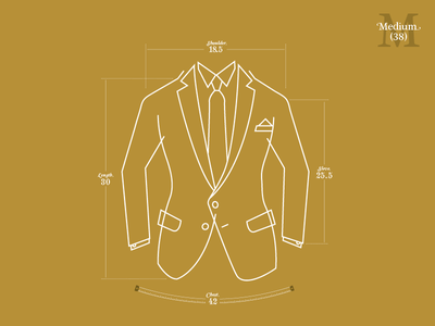 Suit Up! suit line drawing illustration vector measurements typography gold