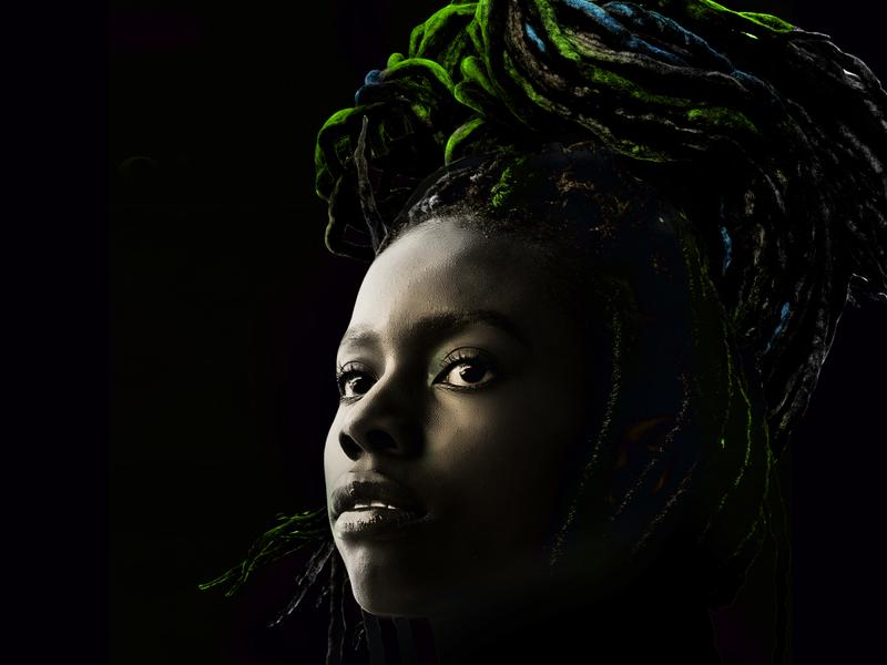 Black woman and braids digital art portrait black proud dark braids illustration collage black